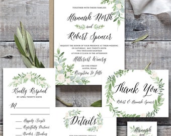 Printable Wedding Invitation Template, Wedding Invitation Printable, wedding invitation greenery template, Botanical Invitation Template