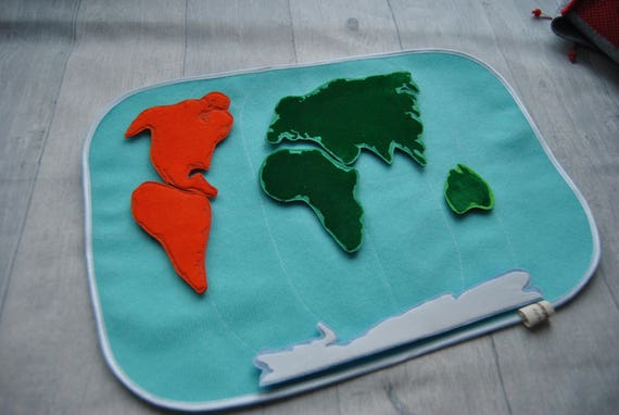 World map of felt quiet book page felt craft felt map gumiabroncs Choice Image