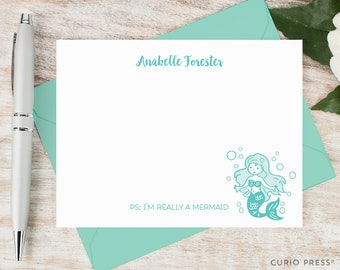 Personalized Notecard Set / Personalized Stationery Set / Stationary Note Card Set / I'm really a mermaid // MERMAID
