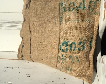 Upcycled Burlap Accent Pillow Handmade of Coffee Roaster Bags