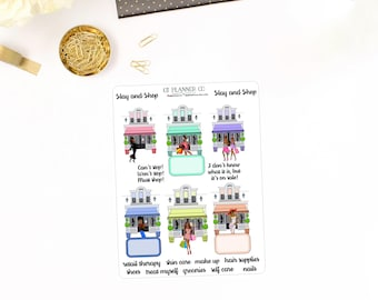 Sisters Slay and Shop Planner Stickers - African American, Dark Skin Tone Women, Shopping, Retail Therapy, Sale, Boutique