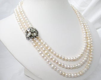 Rhinestone and Pearl Necklace, Three Strand White Pearl Wedding Necklace, Silver Box Clasp with a Leaf Motif, Bridal Jewelry, Bernadette