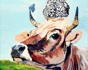Cow, Chicken Print, Farm Animals, Landscape, Kitchen Decor, Nursery Decor, 11x14, Willow Branch Studio
