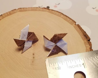 Brown and White Origami Earrings