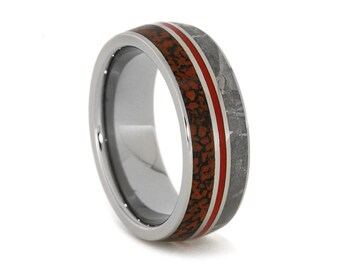 Meteorite Wedding Band, Dinosaur Bone Ring With a Red Enamel Stripe, Titanium Ring, Statement Jewelry