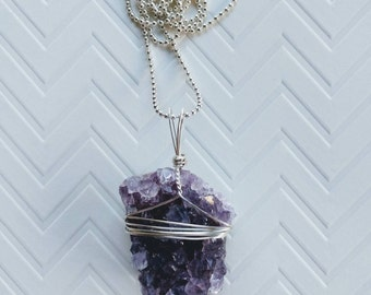 Amethyst Geode Pendant Wire Wrapped Necklace