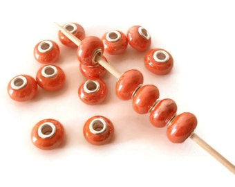 7 Beads,Orange Handmade Porcelain  European Style Beads, Jewelry making Supply, rondelle for European style bracelets