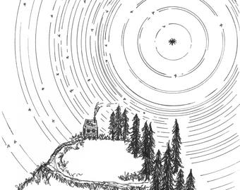 Washington Mountain Home, Landscape Drawing, Star Trails, Mountain Cabin, Pen and Ink Drawing, Fir Trees, Giclee Art Print, Nature Art