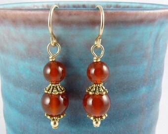 Carnelian Earrings, Burnt Orange Carnelian Dangle Earrings, Dark Orange, 14K Gold Filled Ear Wires