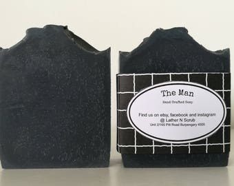 Activated charcoal soap, soap for men, black soap, palm free soap, cold process soap, handmade soap, soap favors, party favors, mens soap