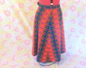 Vintage 1970's Wool Plaid Skirt