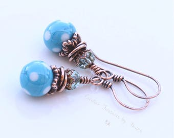 Polka Dot Earrings Turquoise Blue Polka Dot Earrings Copper Earrings Czech Glass Beads Retro Style Earrings Gift For Her