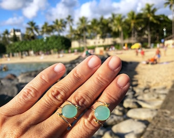 Gold Wire Ring with Aqua Chalcedony