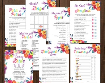 Instant Download Fiesta Bridal Shower Games, Fiesta Party. Digital Printable cards