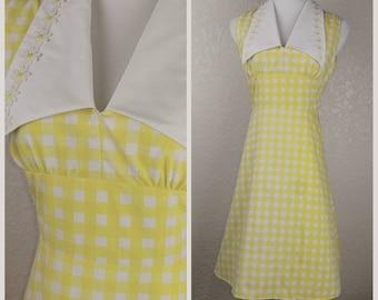 Delicious Lemon Yellow Gingham Vintage Dress