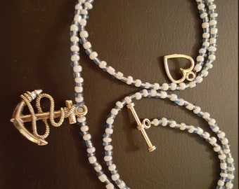 Beaded Necklace with Anchor Charm