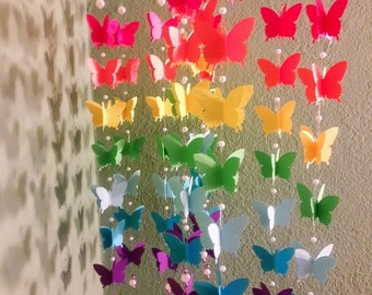 3D Origami mobile with rainbow butterflies
