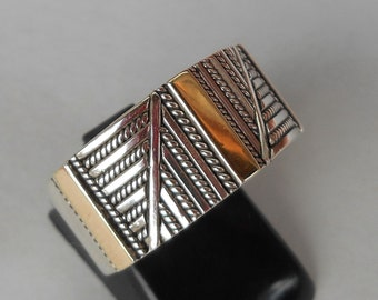 Balinese Sterling Silver gold  band ring / silver 925 / Bali handmade jewelry / Size: 9 ready to ship / silver 925 / (#577m)