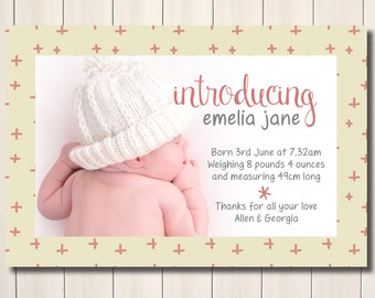 Sweet coral and pink printable birth announcement - with photo