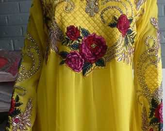 Yellow Anarkali Indian Dress for Special Occasions.