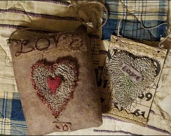 Primitive Punch Needle Hearts Valentine Hangers Printable BINGO Cards Rug Hooking PDF Epattern  Download Pattern Hickety Pickety