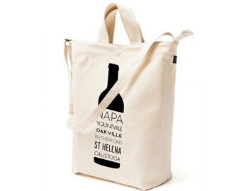 Napa Valley Wine Bottle duck canvas tote bag