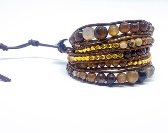 Natural stone wrap bracelet