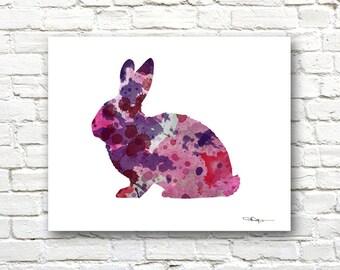 Rabbit Art Print - Abstract Watercolor Painting - Wall Decor