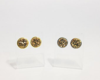 Druzy Studs in Sparkling Gold, Gold Druzy Earrings, Chunky Gold Druzy Earrings, Metallic Jewelry, Gold Jewelry, Gold Druzy Solitaire