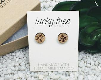 Snowflake Stud Earrings | Laser Cut Wood Eco-Freindly Bamboo Earrings