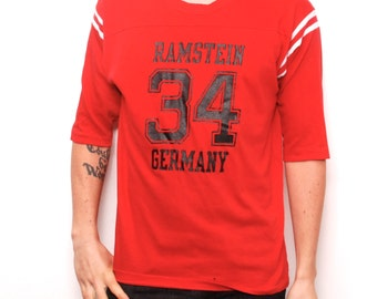 vintage German rugby football RAMSTEIN GERMANY red 80s FOOTBALL cotton t-shirt made in usa