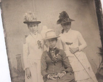 Tintype Photograph of Three Well Dressed Women, Antique from the 1800s, #TT23