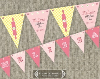 Yellow Check Kitchen Tea - Bridal Tea Party Bunting Flags party decorations. Printable. DIY print at home.
