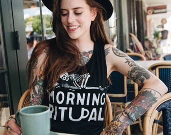 Morning Ritual Muscle Tee | womens slouchy tank | gifts for her | graphic tee | funny coffee t-shirt | barista | coffee t shirt