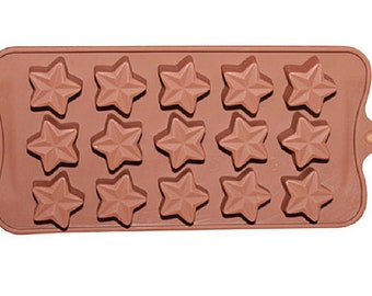 Cake Mold Chocolate Mould 15-Star Flexible Silicone Mold For Handmade Soap Candle Candy Chocolate Cake Fimo Resin Crafts