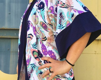 Kimono Style Cover Up Jacket - Feather Print