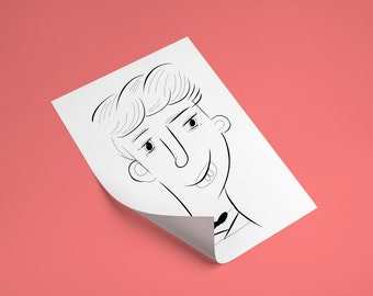 Digital File, customized ink portrait illustration