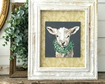 Spring lamb - handpainted and framed