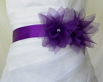 Purple Lotus Bridal sash, Floral Bridal Belt, Purple Bridal Belt, Flower Wedding Sash, Purple Bridesmaids Sash, Purple Wedding