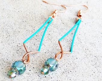 Turquoise Copper Earrings Wire-wrapped Handmade Sinewy Dangle Beaded Color Block Earrings By Distinctly Daisy