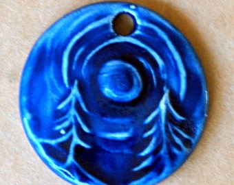 Deep Blue Midnight Forest Ceramic Bead - Pendant Bead with Extra Large Hole
