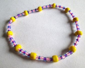 Pink and Yellow Beaded Bracelet