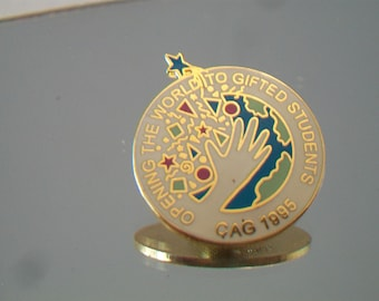 CAG Opening the World to Gifted Students Pin 1995 Earth Geometric Jewelry