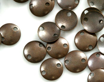 200 Pcs Antique Copper Tone Brass 7 mm cambered Circle tag 2 hole connector Charms ,Findings 403AC-34 tmlp
