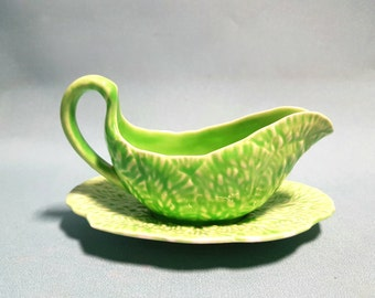 Crown Devon Leaf Ware Gravy Boat And Plate