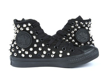 Original Converse AllStar Chuck Taylor high top studded  Converse stud Sliver spike on Black Shoes
