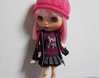 "12"" blythe doll hat  knitted simple pompom"