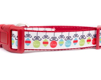 "Holiday Ornaments Dog Collar - winter Dog Collar - 1"" inch wide - santa dog collar - seasonal dog collar - red collar - Christmas dog collar"