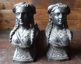 Antique French heavy cast iron lady braids pigtail firedogs fire dogs fireplace open fire circa 1900's / English Shop
