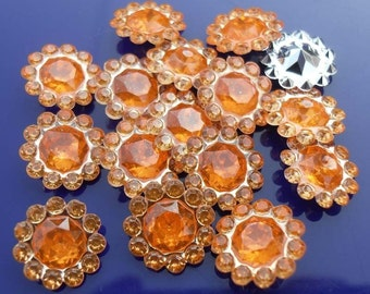Orange Flower Flatbacks-round bottom-Sunflowers-10mm-30 PCS  #C05